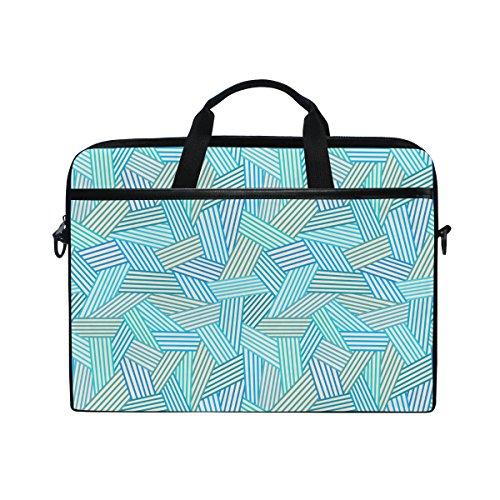 jstel Abstarct blau Linear nahtlos Pattern Laptop-Schulter Messenger Tasche Fall Sleeve für 35,6cm zu 39,6cm mit verstellbarer Notebook Schultergurt