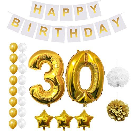 BELLE VOUS Globos Cumpleaños Happy Birthday, Suministros y Decoración Globo Grande de Aluminio - Decoración Globos De Látex Dorado y Blanco - Apto para Todos los Adolescentes (Age 30)