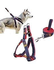 Goodid arnés con correa ajustable de vaquero para mascotas perro,gato,cinturón de pecho y espalda,hombro para llevar perros con seguridad para perro pequeño,mediano,grande (Rojo, S)