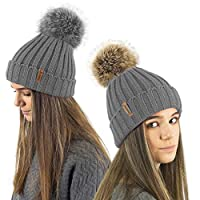 TOSKATOK® Ladies Girls Chunky 3 in 1 Rib Beanie Hat with 2 Interchangeable Large Faux Fur Pompoms