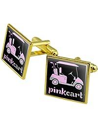 Pink Golf Cart Logo Manschettenknöpfe, quadratisch Set Gold Farbe