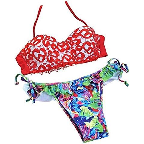 YARBAR Donne Pizzo della nappa dalla fasciatura della stampa Bikini Push up brasiliano (2 Piece Costume D'epoca)