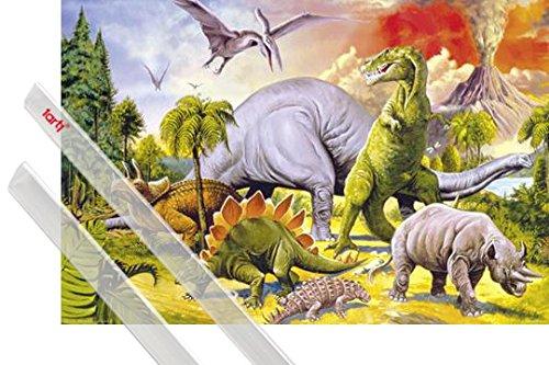 Póster + Soporte: Dinosaurios Póster (91x61 cm) Collage, Mundo Dino Y 1 Lote De 2 Varillas Transparentes 1art1®