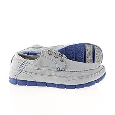 Crocs Men's Stretch Sole Lace-up M Light Grey and Cerulean Blue Loafers and Mocassins - 7 UK