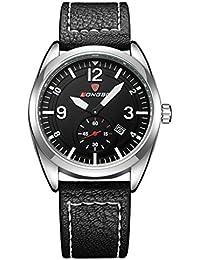 Longbo para hombre luminoso Deportes Relojes lujo analógico reloj negro cuero banda reloj de pulsera quartz
