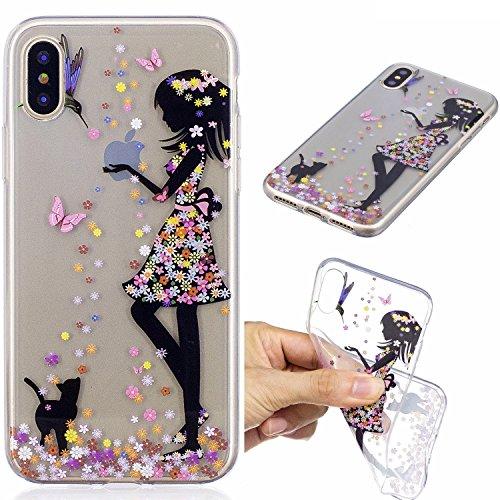 iPhone X Hülle, Voguecase Silikon Schutzhülle / Case / Cover / Hülle / TPU Gel Skin für Apple iphone X(Mädchen im bunten Kleid) + Gratis Universal Eingabestift Mädchen im bunten Kleid