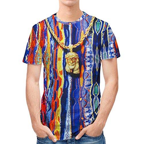 Camiseta Para Hombre,ZARLLE Personalidad Mens 3D Print Stripe Top...