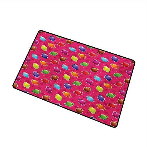 Bunte Inlet Outdoor Fußmatte Kinder Cartoon-Stil Illustration von Süßigkeiten Sterne und Herzen Artwork Print Catch Staub Schnee und Schlamm, mehrfarbige Badematte (Herzen Benutzerdefinierte Süßigkeiten)