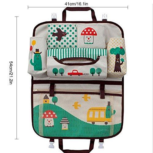 Imagen para Teepao - Organizador infantil para el respaldo de asiento de coche, ideal para guardar accesorios de bebés y juguetes de niños pequeños durante el viaje, protege el asiento trasero