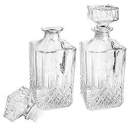 "Glas-Karaffe""Elegance"" | Dekanter | 2 Stück | 9cm x 9cm x 23cm (inkl. Verschluss) | 900 ml | ideal für Whiskey, Cognac, Likör, Whisky-Karaffe"
