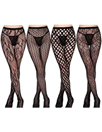 Yulaixuan filets de pêche collants jacquard tissage lingerie ultra-mince  stretch bodystocking 4-pack a95574c316f