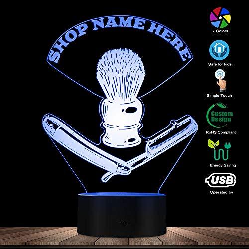 PTSHOP Friseur Toolkit Custom USB Nachtlicht Barber Rasiermesser LED beleuchtete Lampe Barber Rasierpinsel Custom Barber Shop Name (Shop Custom Halloween)