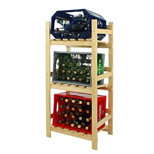 Kastenregal / Getränkeregal / Regal für Getränkekisten, Holz, Kiefer Natur - H 112 x B 52 x T 36,5 cm