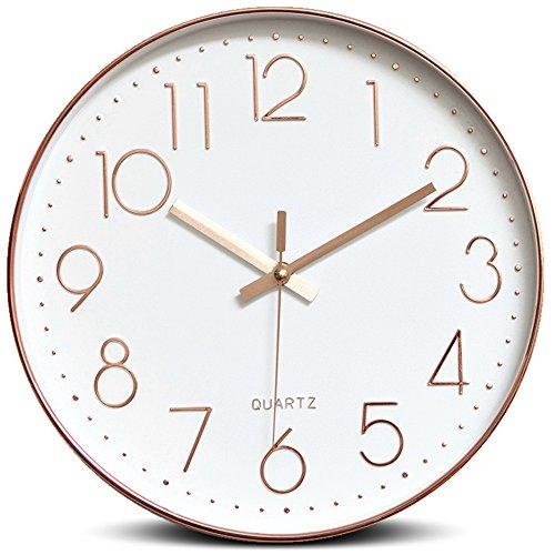 Wall Clock WERLM Sepia Restaurant Schlafzimmer Wohnzimmer Wände Sind Schlafzimmer Wohnzimmer Wanduhr Wanduhr Mute Wanduhr Quarzuhr 10' Sollte 25 cm betragen, A Rose Gold Dekoriert