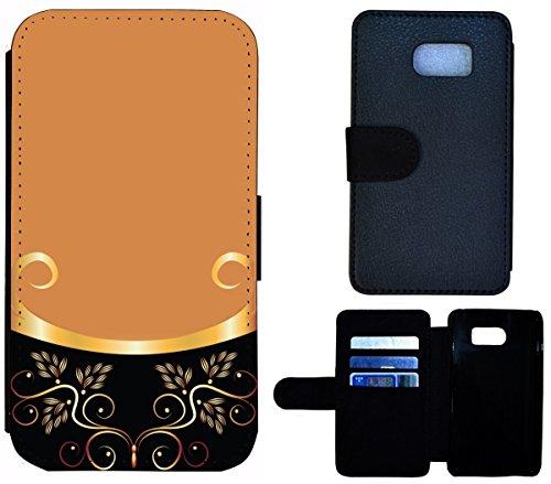Flip Cover Schutz Hülle Handy Tasche Etui Case für (Apple iPhone 5 / 5s, 1443 Tiger Boot Blau Gelb Abstract) 1442 Abstract Schwarz Braun Goldfarben