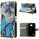 Handytasche Business Case Cover Huawei Ascend Y550 - STAND BOOK Etui Flip Schmetterling