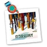 3dRose QS 163648_ 10Bild von Ski mit Wort Norway-Quilt