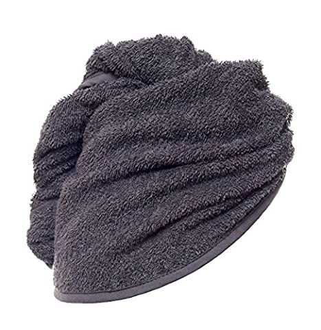 Hair Turban 100% Cotton, grey -perfect for dying hair - easy handling - put on - wrap and button up Head Towel