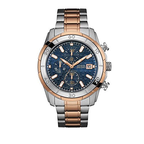Guess (GVSS5) Men's Quartz Watch with Blue Dial Analogue Display and Rose Gold Stainless Steel Bracelet W0746G1