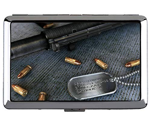 Zigaretten-Etui, Waffe Maschinenpistole Professionelle Visitenkarte