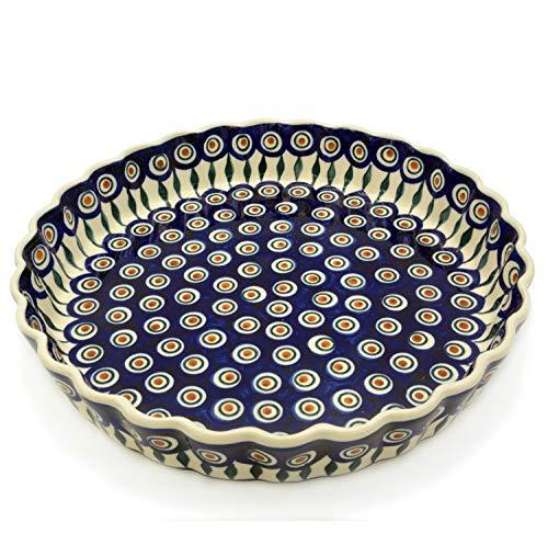 Bunzlauer Keramik Tarte- oder Quicheform 26,5 cm (Dekor Pfauenauge)