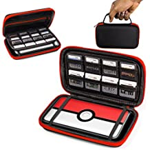 ORZLY® 2DS XL Case, Carry Case for New Nintendo 2DS XL - Protective Hard Shell Portable Travel Case Pouch for New 2DS XL Console with Slots for Games & Zip Pocket - RED on Black