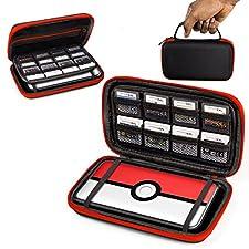 2DSXL Case, Orzly Tasche für das Neu Nintendo 2DS XL - Aufbewahrungstasche / - Hartschalen Case / Cover / Hülle / Schutzhülle für die New Nintendo 2DS XL Konsole & Accesoires - ROT auf Schwarz