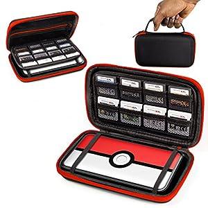 ORZLY® 2DSXL Case, Tasche für das Neu Nintendo 2DS XL – Aufbewahrungstasche / – Hartschalen Case/Cover/Hülle/Schutzhülle für die New Nintendo 2DS XL Konsole & Accesoires – ROT auf Schwarz