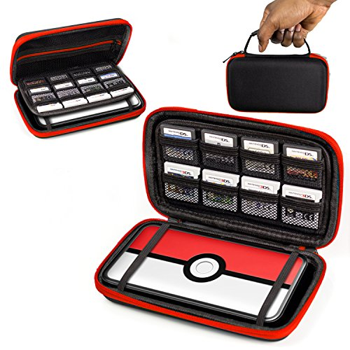 2DS XL Case, Orzly Carry Case for New Nintendo 2DS XL - Protective Hard Shell Portable Travel Case Pouch for New 2DS XL Console with Slots for Games & Zip Pocket - RED on Black  available at amazon for Rs.599