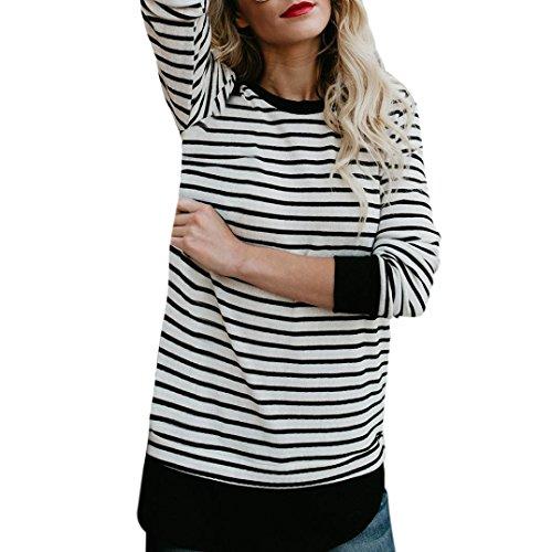 Bonjouree Femme Chemisier Rayé Blanches Noires Pull T-shirt Hauts à Manches Longues (S)