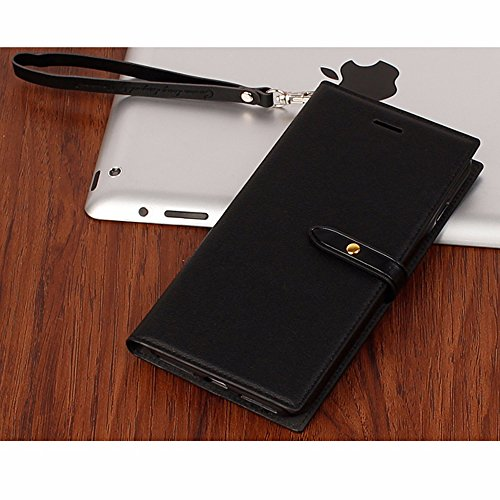 UKDANDANWEI Apple iPhone 7 Plus Housse Etui de Protection 2017 Neuf Design Luxe Ultra Slim Mince Pure Leather Pu Case avec Dragonne Corde Flip Wallet Protective Case Cover avec Fonction Stand et Fente Noir