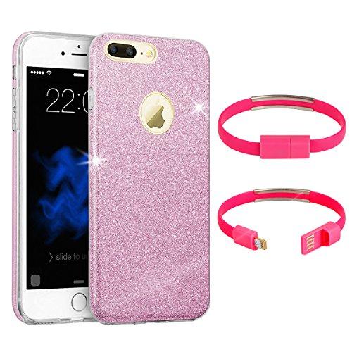 Astuccio brillante elegante case + braccialetto - cavo usb per telefono iphone 6 / 6s con broccato spelendente. lussuosa cover in silicone brillante rosa