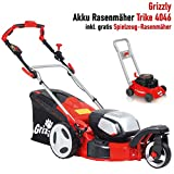 Grizzly Akku Rasenmäher Trike 4046, 40 V 4.0 Ah Samsung Lithium Ionen Akku 144 Wh, bewegliches Vorderrad, 46 cm Schnittbreite, Mulchfunktion inkl. Kinder Mäher