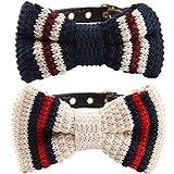 BINGPET 2Pcs verstellbar Leder Fliege Puppy Halsband mit Glöckchen für Kleine bis mittelgroße Hunde