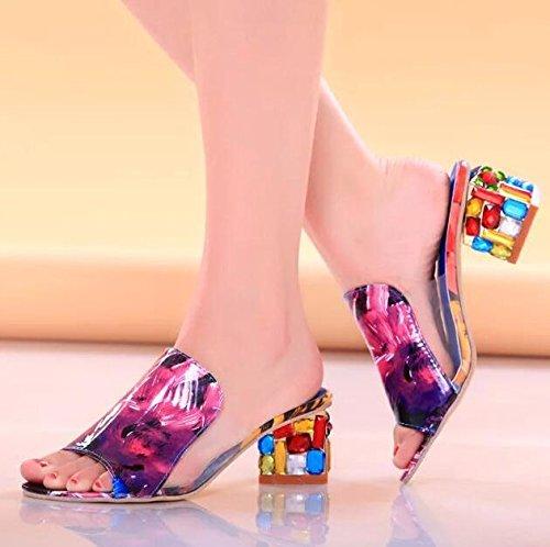 Zormey Xda Strass Peep Toe Pumps Frauen Sandalen Schuhe Sexy Open Toe Keil Folien Schuhe Frauen High Heels Sandalen Flip Flops Plattform 7
