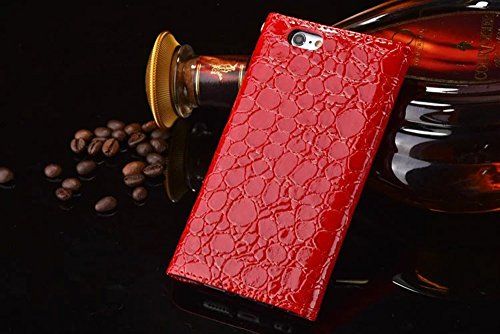 iPhone Case Cover Krokodil-Muster PU-lederner Kasten-Mappen-Kasten-Umschlag-Art-Fall-Abdeckung für IPhone 6s 6 ( Color : Coffee , Size : IPhone 6s ) Red