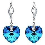 Clearine Orecchini 925 Argento Forma di cuore vuota foglia floreale Orecchini pendenti Adornato con Cristallo Bermuda Blu