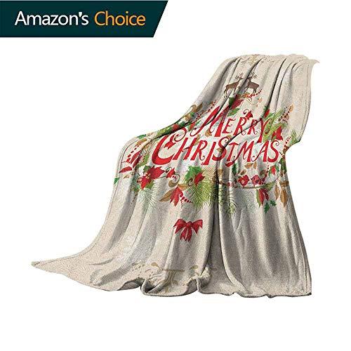 """Manta de Camping de Navidad, diseño de Copo de Nieve con Texto en inglés Merry Christmas, poliéster, Style-03, 60\""""x80\""""(W152cmxL203cm)"""
