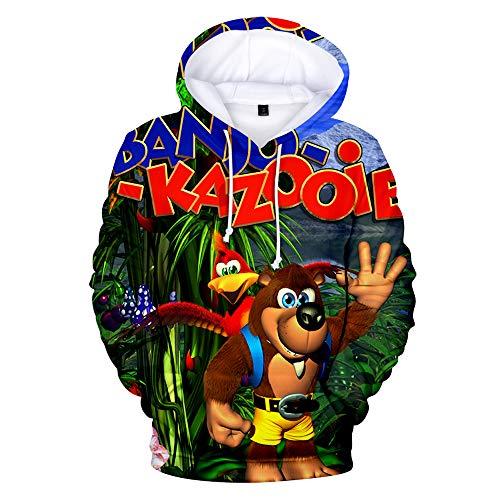Denkqi Unisex 3D Druck Hoodie Kapuzenpullover Langarm Sweatshirt Kapuzenjacke Mit Tunnelzug Pullover Taschen Top Shirt Weihnachten Herbst Banjo Kazooie Nuts and Bolts XL -