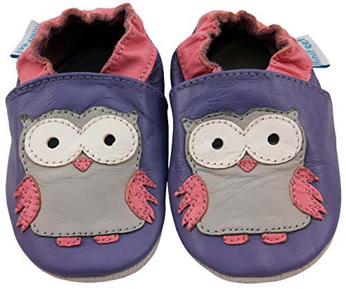 MiniFeet Weich Leder Babyschuhe, Krabbelschuhe, Baby Jungen und Mädchen, Eulen 0-6, 6-12, 12-18, 18-24 Monate und 2-3 Jahre Lila Eule