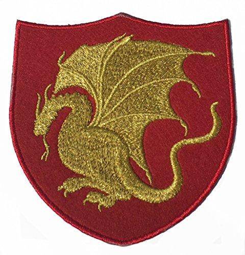 Kostüm Pendragon - King Arthur Pendragon Patch (10,2 cm) rot Samt + Gold Stickerei Eisen/Nähen auf Aufnäher Merlin Stickerei Drache Emblem