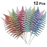 LIOOBO Künstliche Blätter des funkelnden Blattes des Weihnachten 12pcs für Weihnachtsbaumdekoration und Hauptdekor