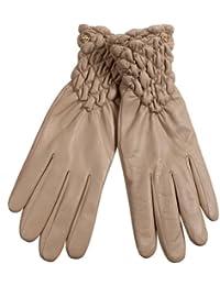 ELMA Damen-Winterhandschuhe aus Nappaleder, gerafft, vergoldetes Logo