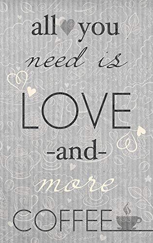 GRAZDesign Acrylglasbilder Küche Wandbilder Küchenspruch - Bilder Küche Kaffee - Wanddeko Küche Grau - Küchenbilder All You Need ist Love and More Coffee / 30x50cm / 100800_30x50_MXplexi