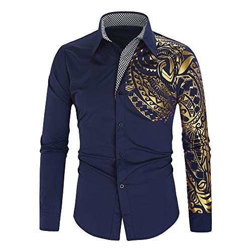 Aoogo Herren Digitaldruck Poloshirts Männer Freizeit Revers drucken Lange Ärmel Shirt Casual Umlegekragen Button Print Langarm Top Bluse Herren Bunt Drucken Body Fit Shirt