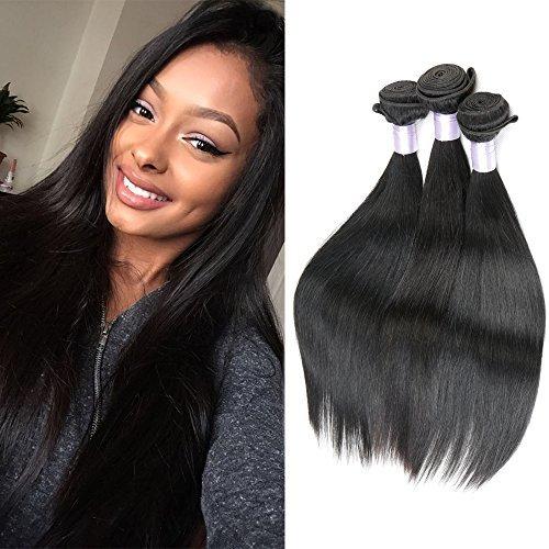 Cheveux brésiliens vierges brésiliens 3 Droit de Tissages de cheveux humains naturel noir extension Défrise trames 100 g/pc (35,6 cm 40,6 cm 45,7 cm)