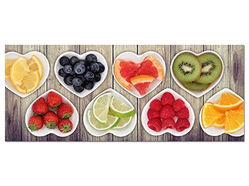 GRAZDesign Acrylglasbilder Küche Wandbild Herzschalen mit Obst - für Esszimmer Bar - Küchebilder als Dekoration - Glasbild aus Acryl / 125x50cm / 100454_002_01_04