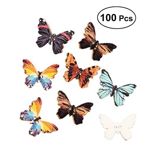 Healifty 100pcs Schmetterling Holzknöpfe Unfinished Verzierungen Ornamente Hängende DIY Holz Handwerk Assorted Farbe (Unfinished Holz Ornamente)