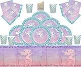 Fournitures de fête de sirène Enfants Vaisselle d'anniversaire Décorations de fête en Papier d'aluminium pour sirène Shine Iridescent 16 invités