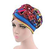 bobo4818 Frauen Indien Muslim Elastic Turban Print Hut Kopftuch Wrap